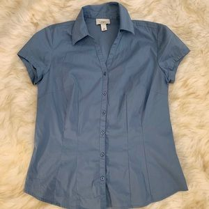 Ann Taylor Loft Fitted Stretch Button Down Top